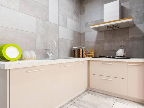 modernewohnküche design - backofenfenster reinigen stock-fotos und bilder