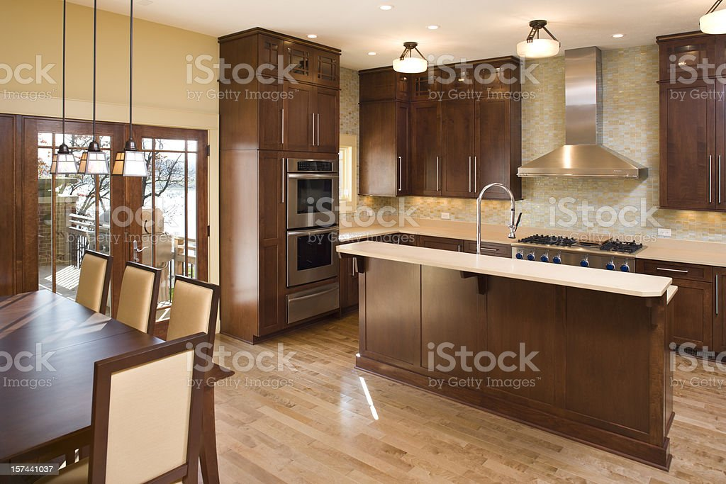 Modern residential kitchen with maple and stainless. royalty-free stock photo
