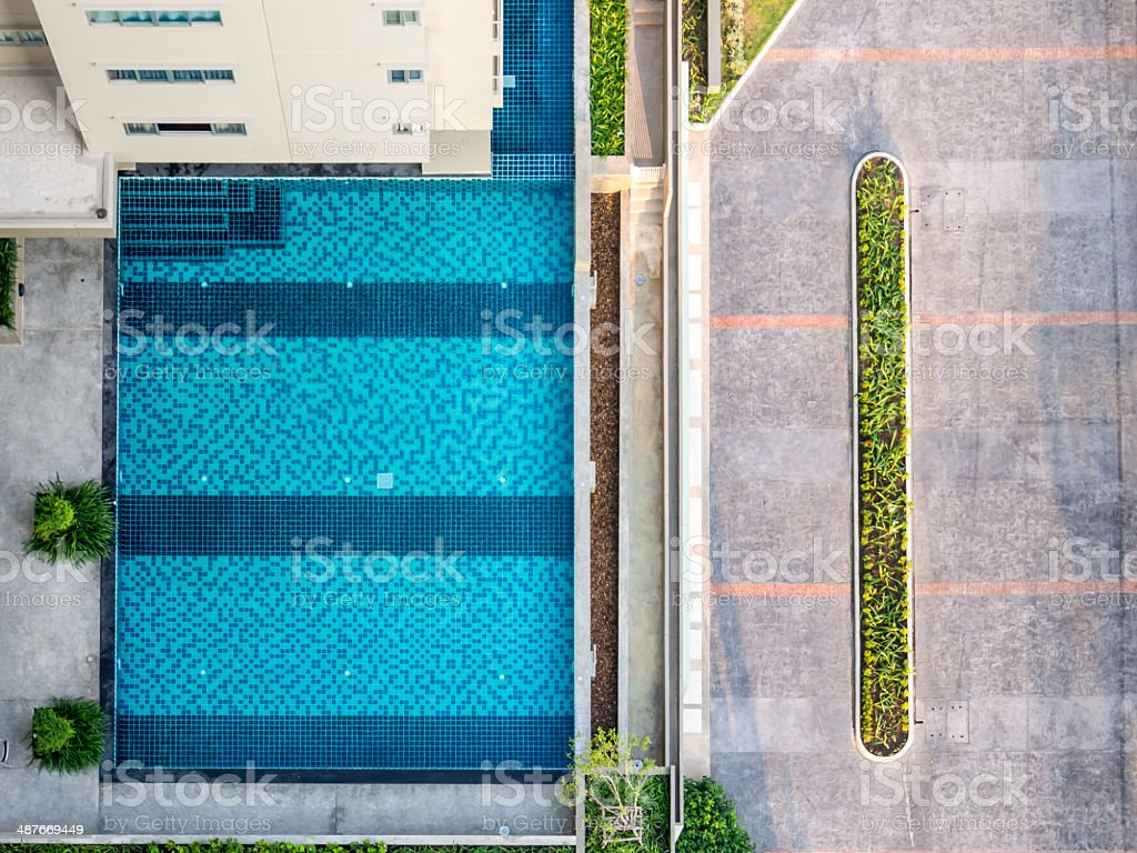 Modern residential with swimming pool, from top view