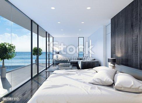 istock Modern resort hotel interior bedroom 662381112