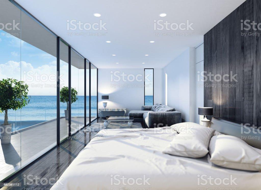 Modern resort hotel interior bedroom – Foto