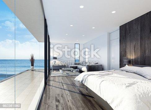 istock Modern resort hotel interior bedroom 662381580