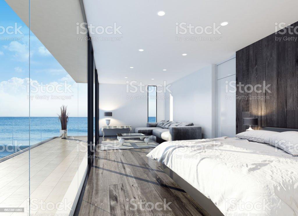 Modern resort hotel interior bedroom stock photo