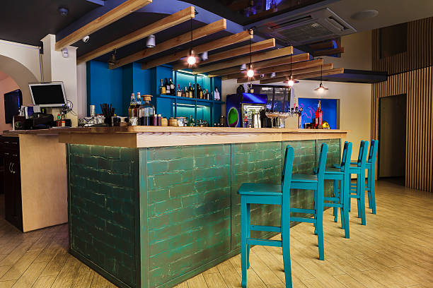 Modern restaurant, bar or cafe interior stock photo