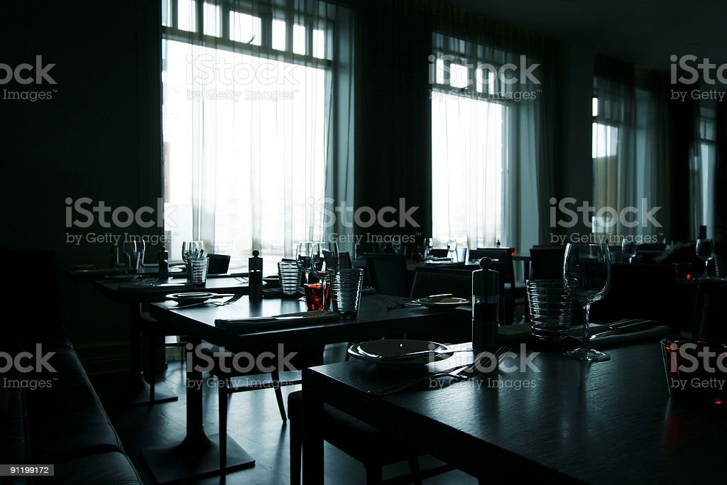 Modern restaurant - high contrast image stock photo