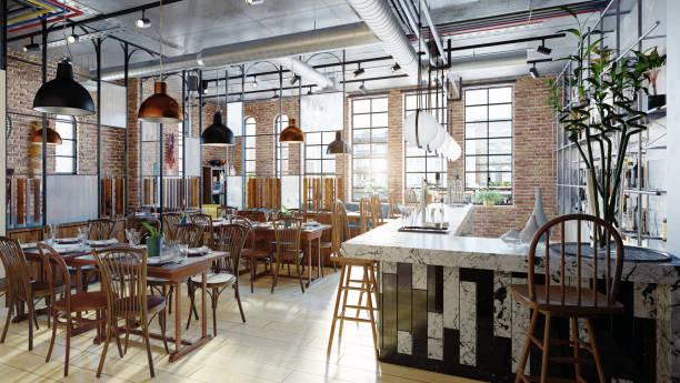 moderno restaurante diseño de interiores. - restaurante fotografías e imágenes de stock