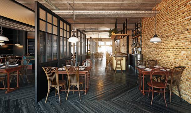 modern restaurant interior design. stock photo