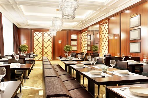 istock Modern restaurant interior design 1166259874