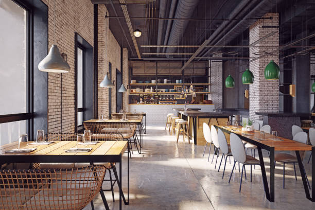 diseño interior de restaurante moderno - restaurante fotografías e imágenes de stock