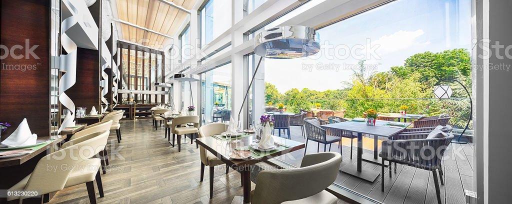 Modern restaurant interior on balcony, part of a hotel – Foto