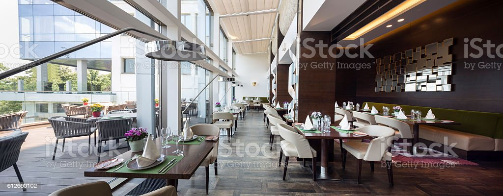 Modern restaurant interior, part of a hotel stock photo