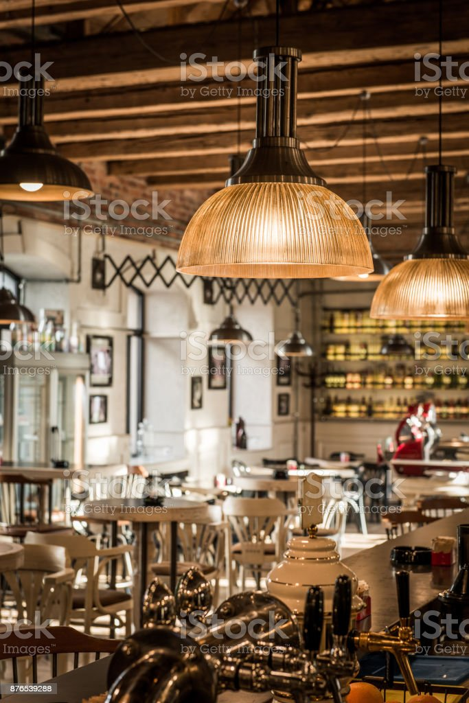 Modern Restaurant With Rustic Decorative Elements Stock Photo Download Image Now Istock