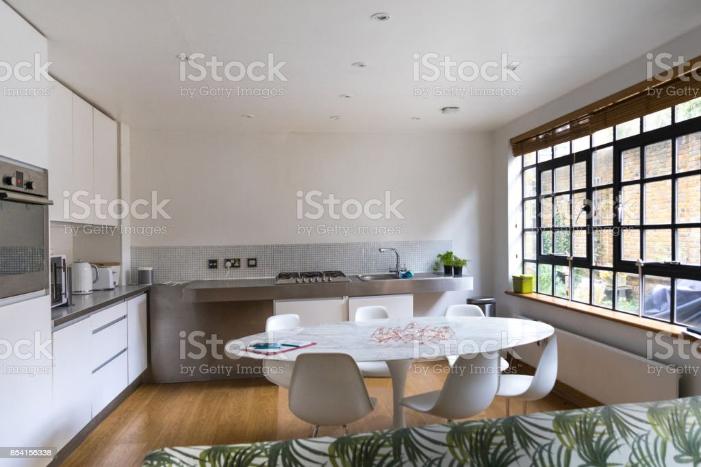 Modern restructured apartment in city downtown stock photo