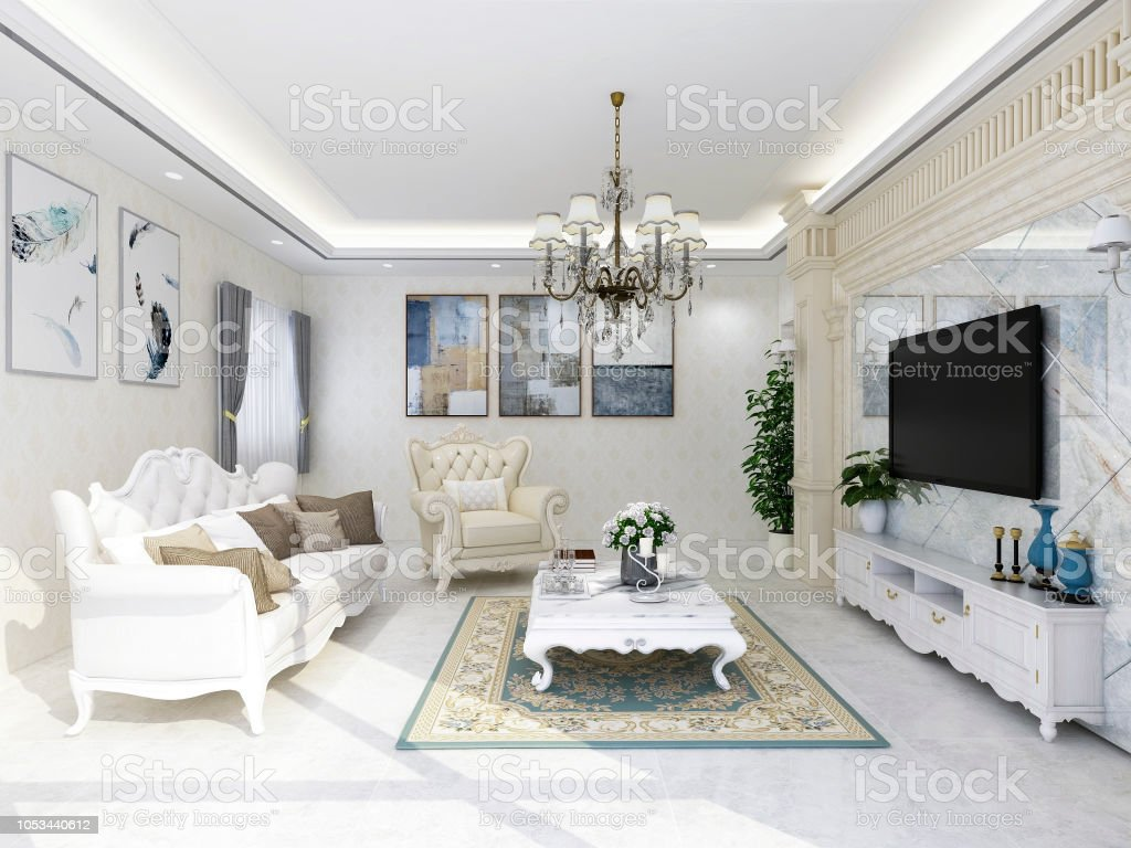 Modern retro european style living room leather sofa and all kinds of solid wood furniture with a variety of accessories and appliances