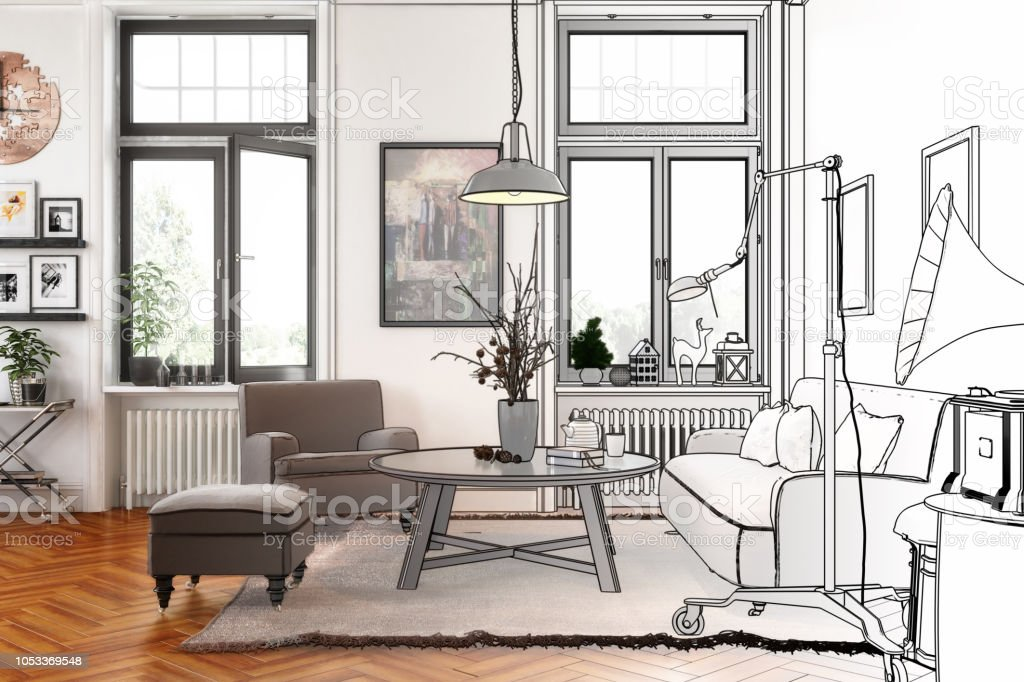 Moderne Retro stijl appartement (tekening) - Royalty-free Appartement Stockfoto
