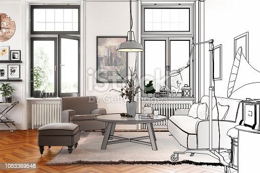 Modern Retro Style Apartment (drawing) - 3d visualization; artwork