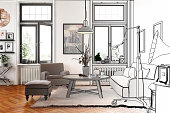Modern Retro Style Apartment (drawing)