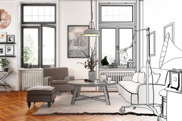 Modern Retro Style Apartment (drawing) stock photo
