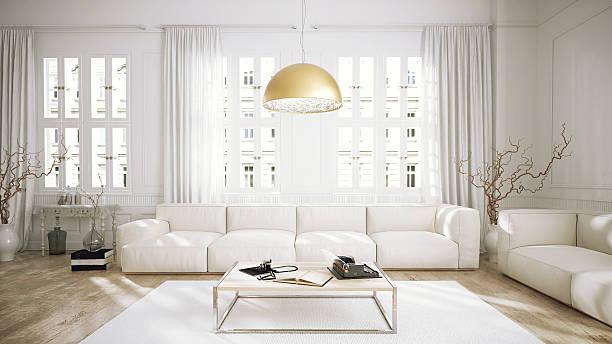 modernen retro-stil penthouse-wohnzimmer - gardinen weiß stock-fotos und bilder