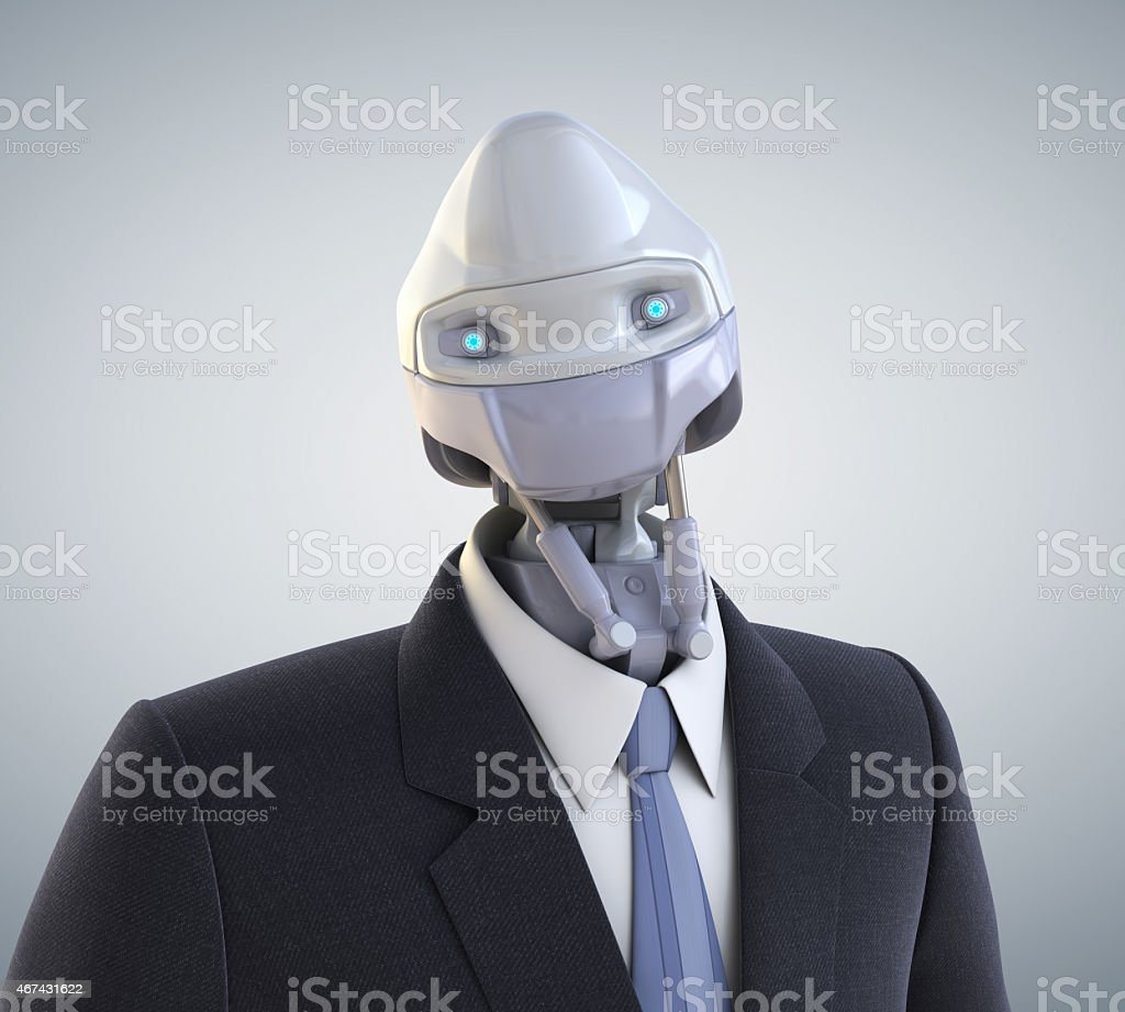 Modern robot dressed in a business suit stock photo