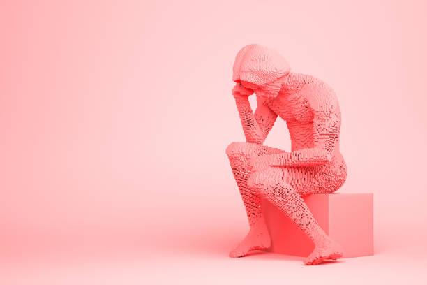 Modern Rodin Thinker stock photo