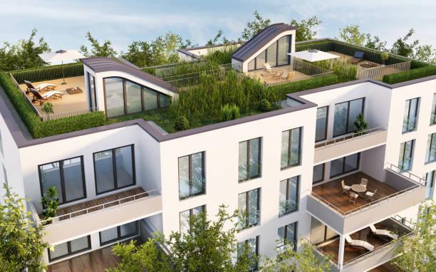 moderne dachterrasse des mehrfamilienhauses - dachgarten stock-fotos und bilder