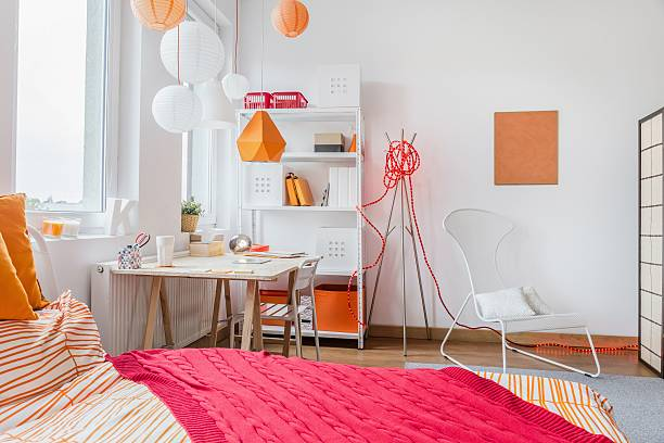 Modern room for teenage girl Interior of modern room for teenage girl girl bedroom stock pictures, royalty-free photos & images