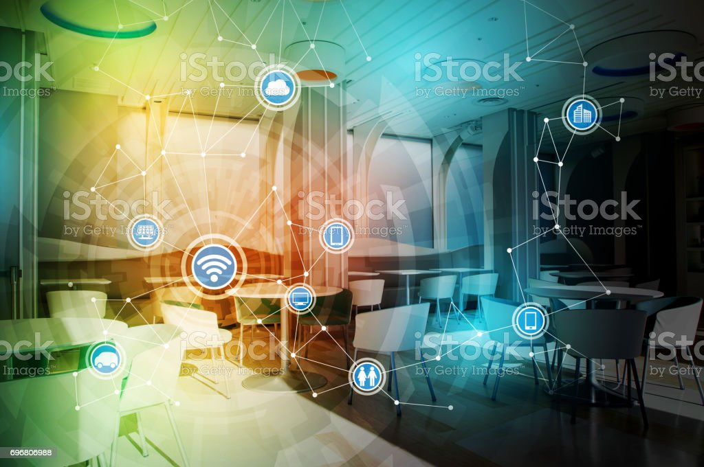 modern room interior and various device symbol icons, wireless communication network, Internet of Things, Smart City, Smart Grid, abstract image visual stock photo