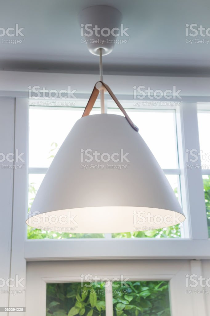 Modern Room Interior Decorated With White Lamp foto de stock royalty-free