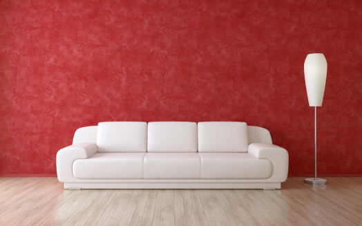 Modern Room Interior with Red Wall, Sofa and Floor Lamp