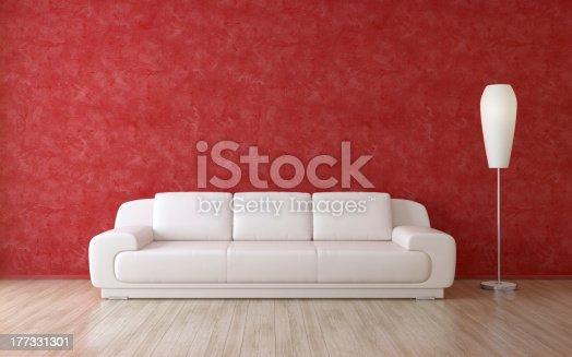 1095381860istockphoto Modern Room Interior Red Wall 177331301