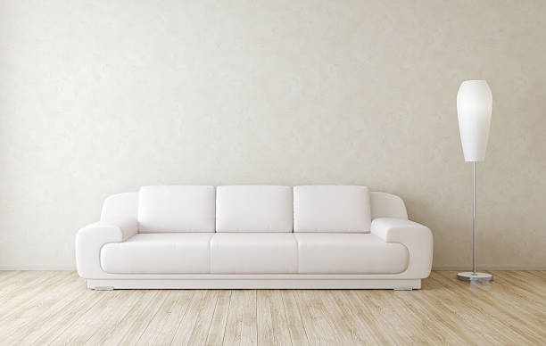 モダンなお部屋のインテリアの壁 - ソファ 無人 ストックフォトと画像