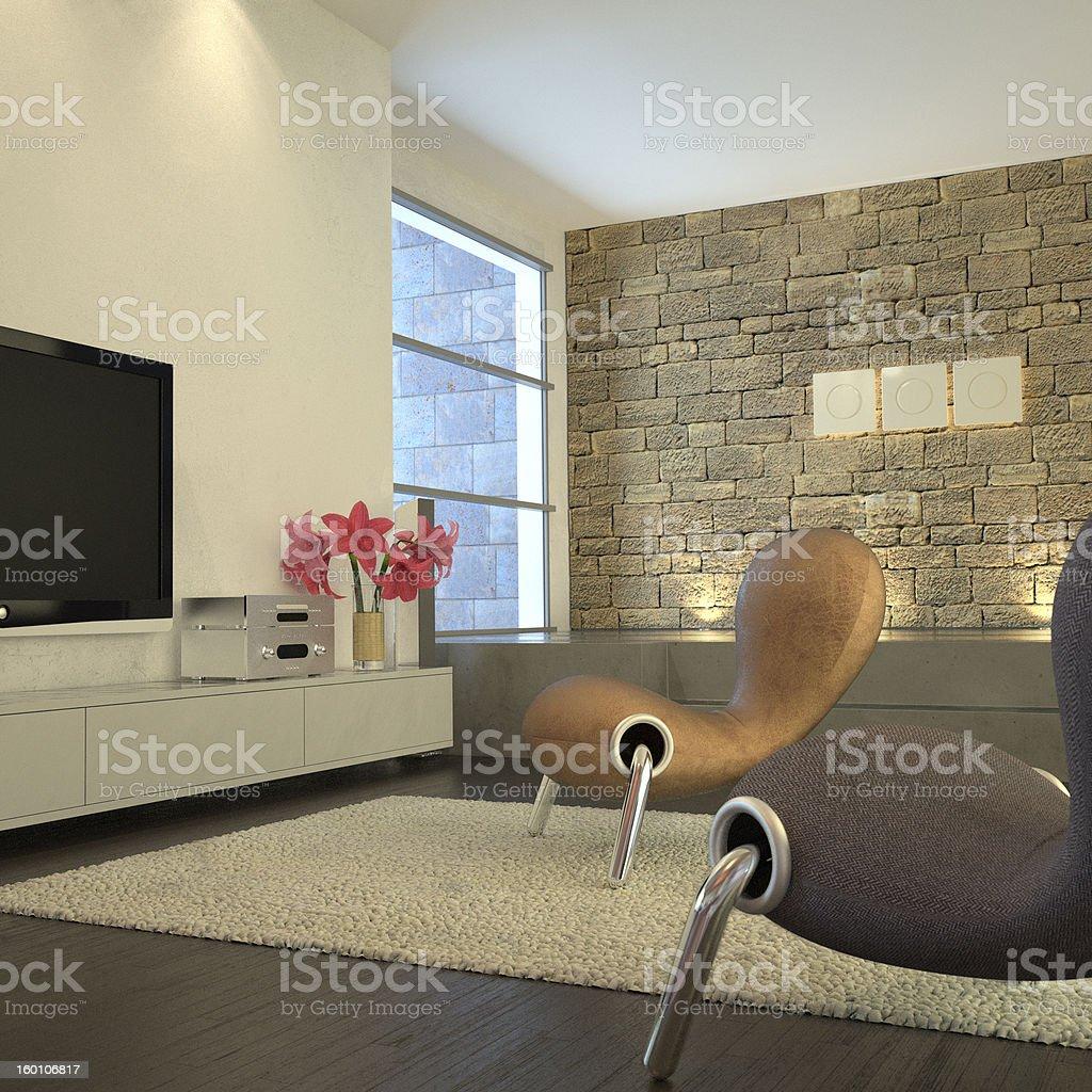 Modern room with plasma TV stock photo