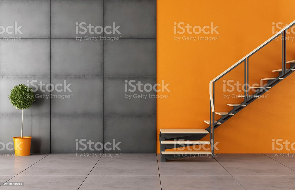 Modern room with staircase stock photo