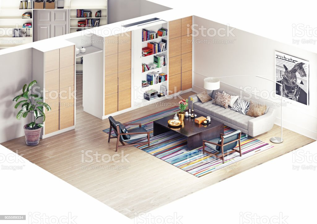 modern rooms isometric stock photo