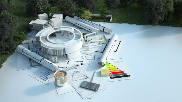 Modern round building project on construction ground stock photo