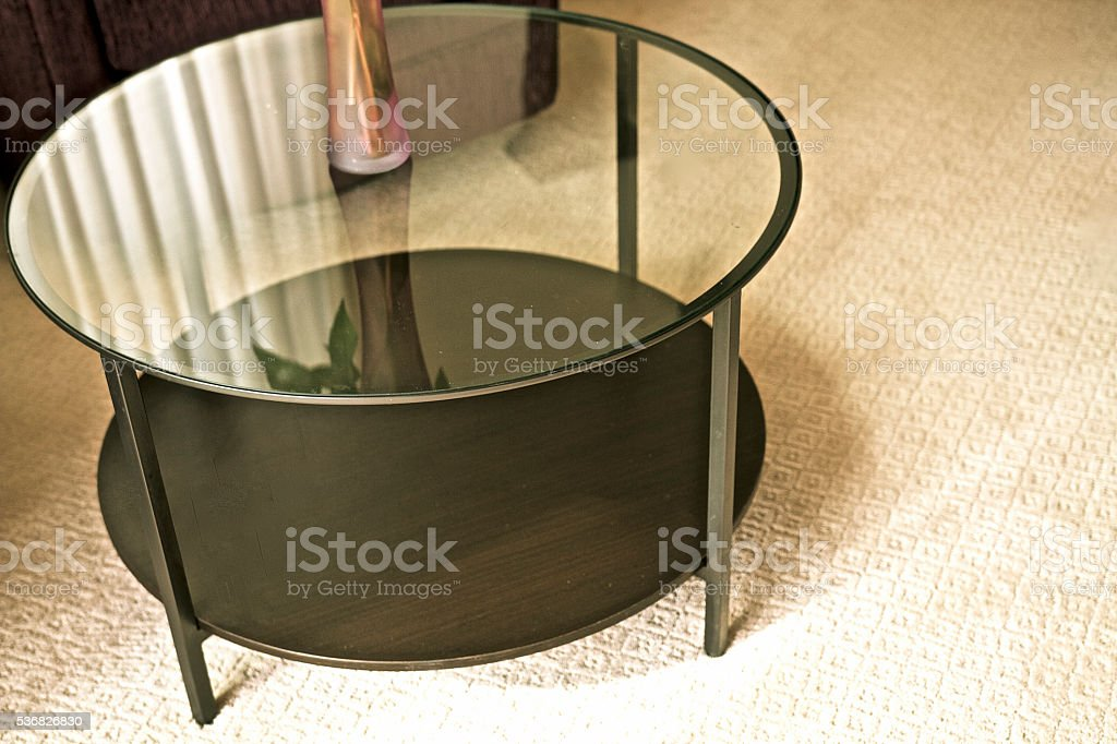 Modern Round Glass Coffee Table stock photo