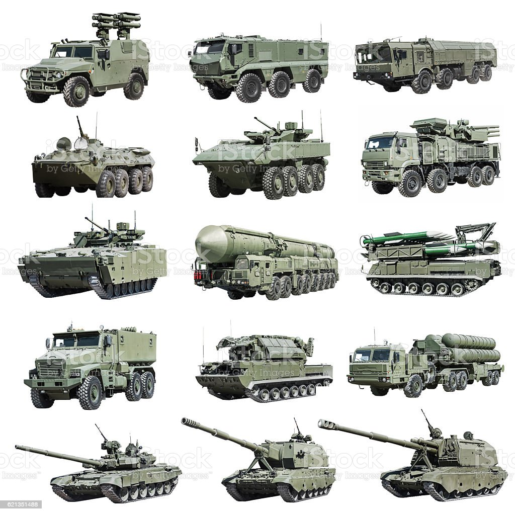modern Russian armored military vehicle tracked and wheeled stock photo