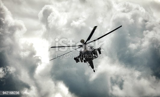 istock Modern russian attack helicopter with with weapons 942168236