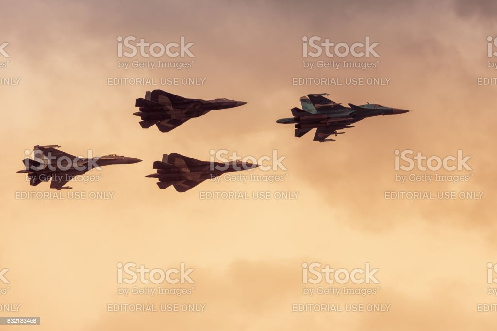Modern Russian strike fighters at MAKS-2017 stock photo