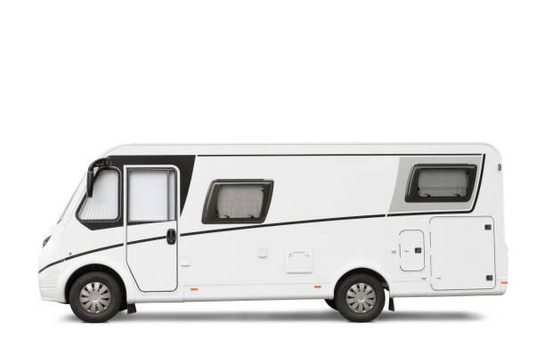 Modern RV isolated on white stock photo