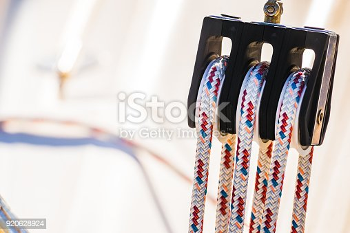 Modern Sailing Boat Pulley Block And Tackle With Moored ...