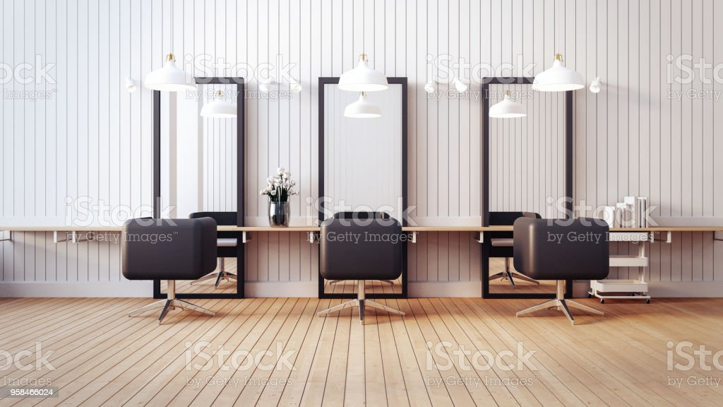 Modern salon interior / 3D render image stock photo