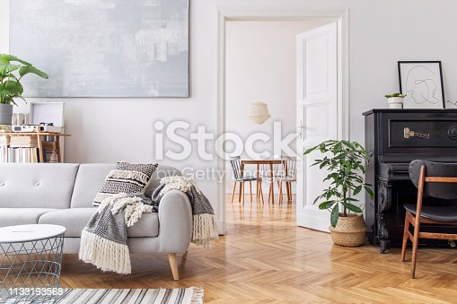 Modern scandianvian decor of living room. Concept of minimalistic interior.