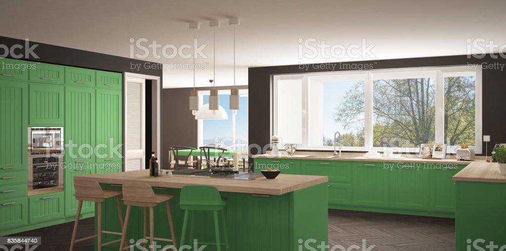 Modern Scandinavia Kitchen With Big Windows Panorama Classic ...