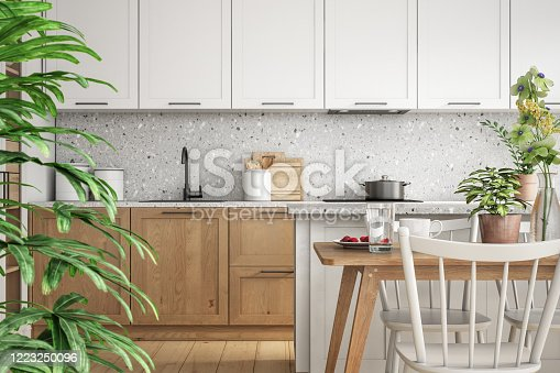 Scandinavian interior design of kitchen and dining room 3d render with white and wooden elements