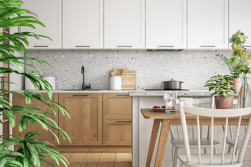 Modern scandinavian kitchen and dining room interior stock photo