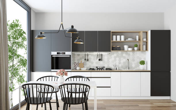 modern scandinavian kitchen and dining room - kitchen imagens e fotografias de stock