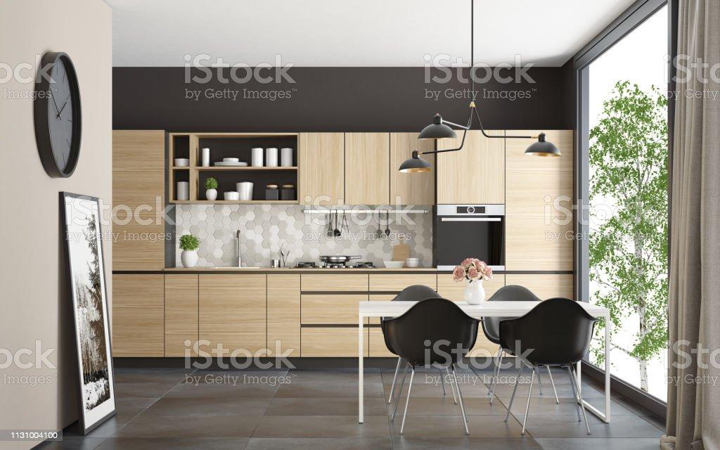 Moderne skandinavische Küche und Esszimmer – Foto