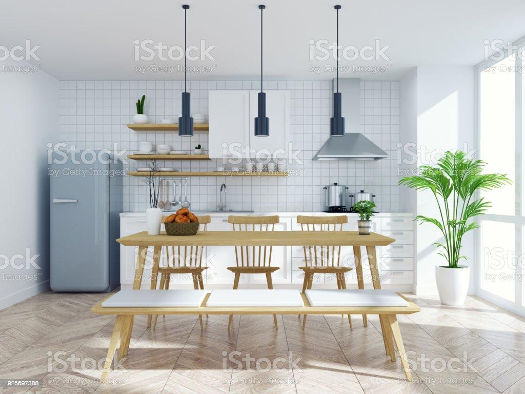 cuisine scandinave moderne et intérieur de salle à manger table en